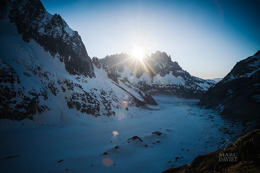 Coucher de soleil depuis le refuge de Leschaux