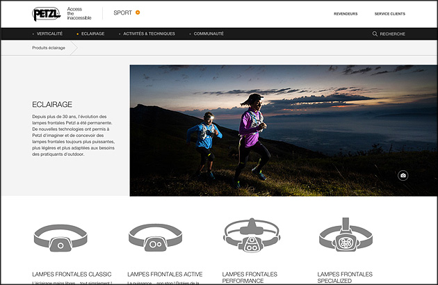 New website Petzl - light