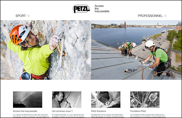 New website Petzl - accueil