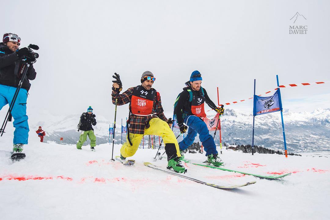 Enak Gavaggio et Mathieu Navillod sur la ligne d'arrivée du Kilianomètre au Big Up and Down
