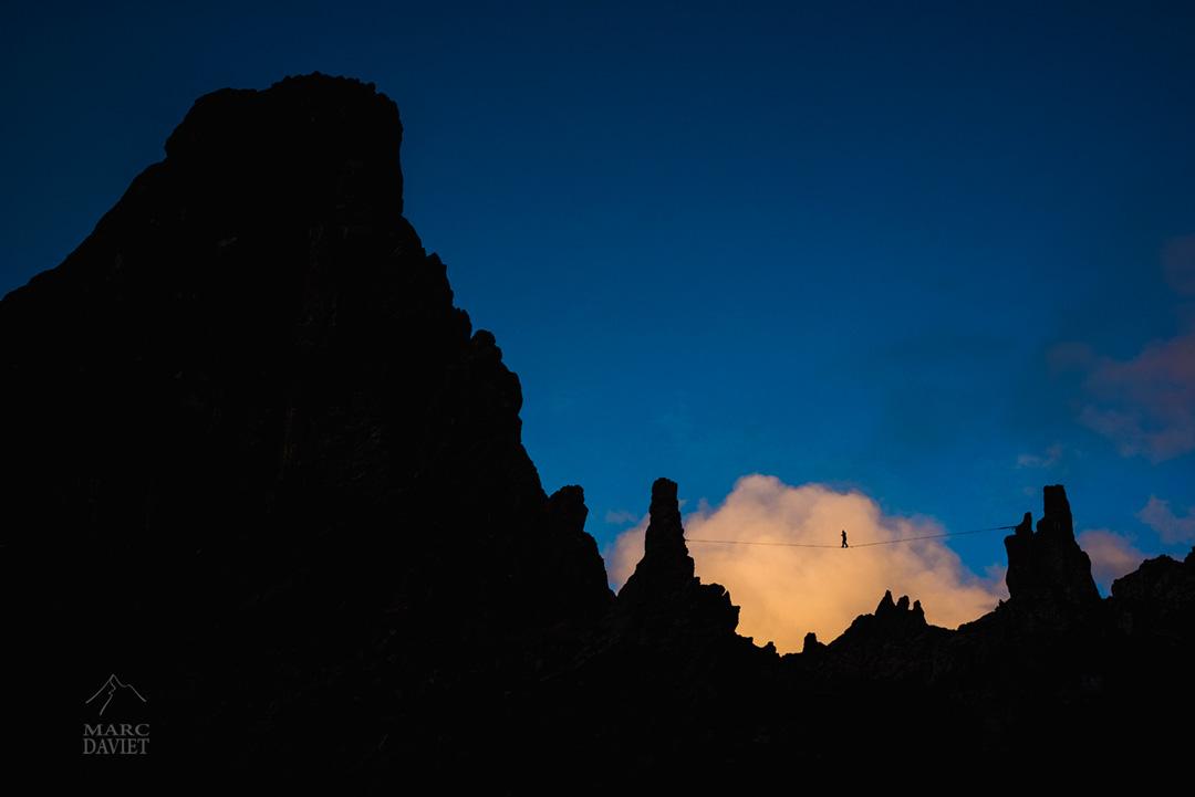 Highline entre ciel et montagne à la Pierra Menta