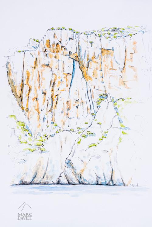 Aquarelle de Jean-Louis Fenouil des Futures Croulants