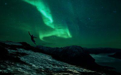 Kilian Jornet sous les aurores boréales